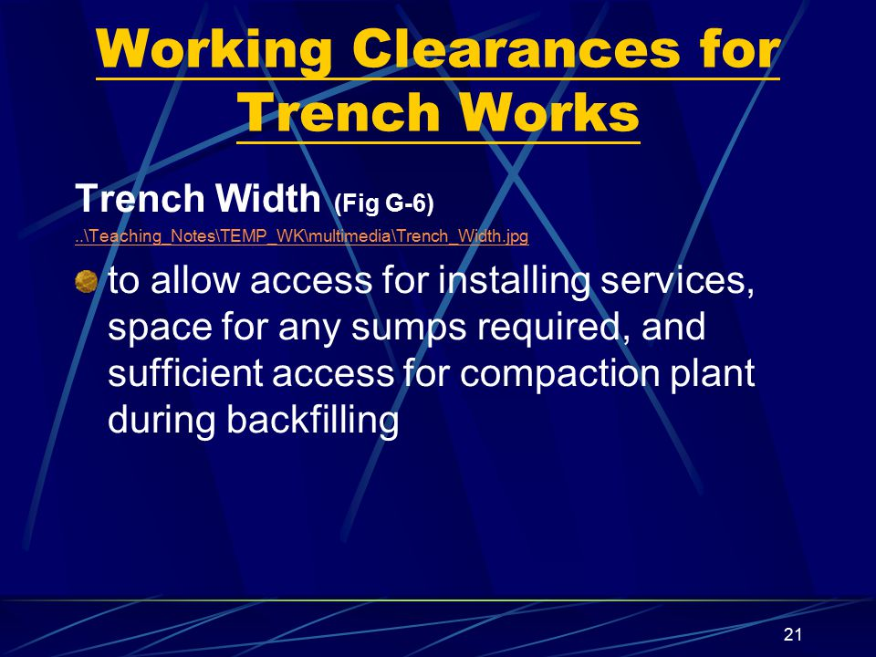 Working Clearances for Trench Works