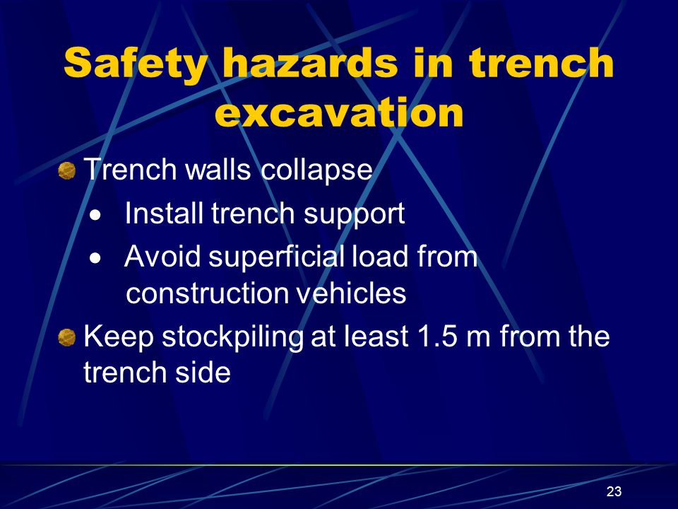 Safety hazards in trench excavation