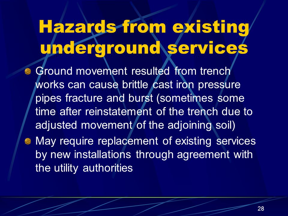 Hazards from existing underground services