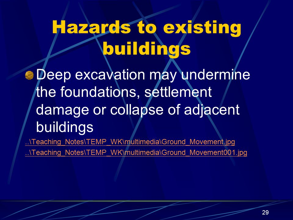 Hazards to existing buildings