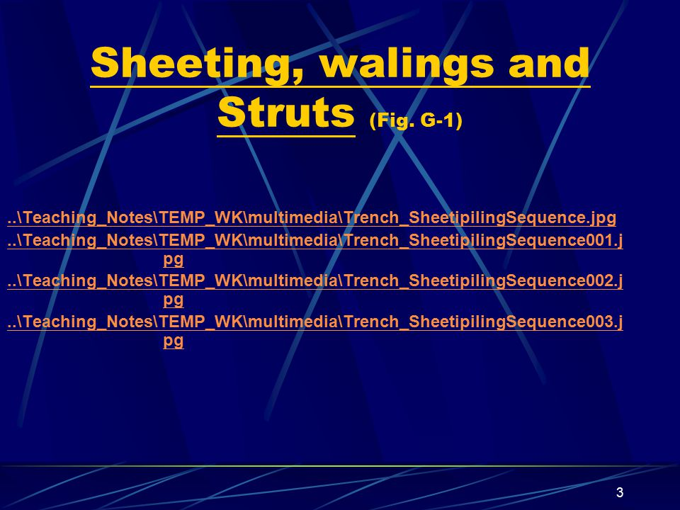 Sheeting, walings and Struts (Fig. G-1)