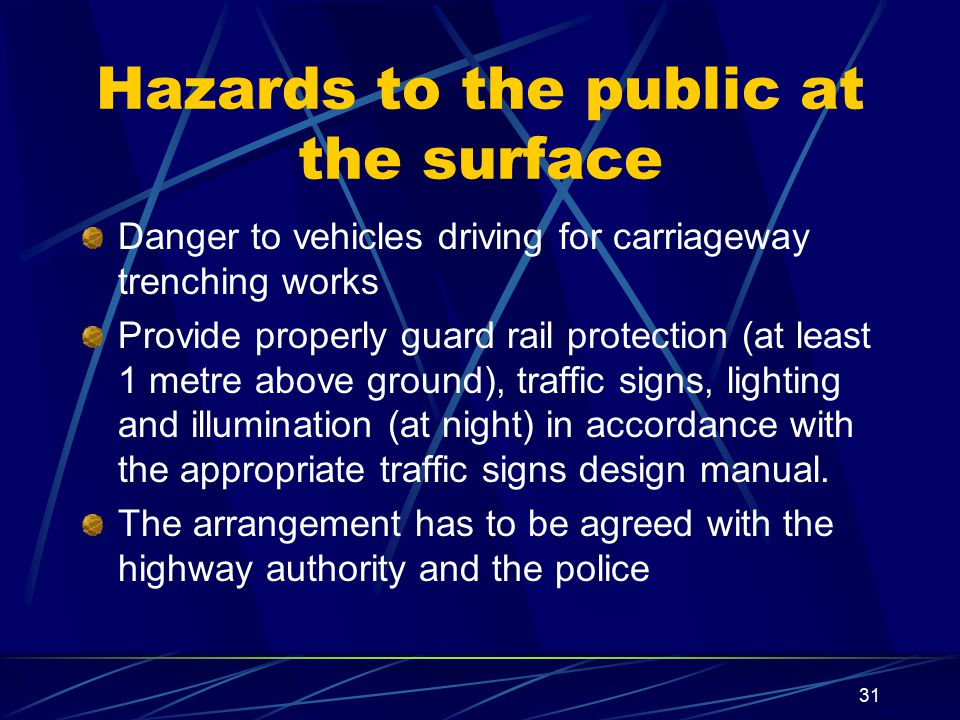 Hazards to the public at the surface