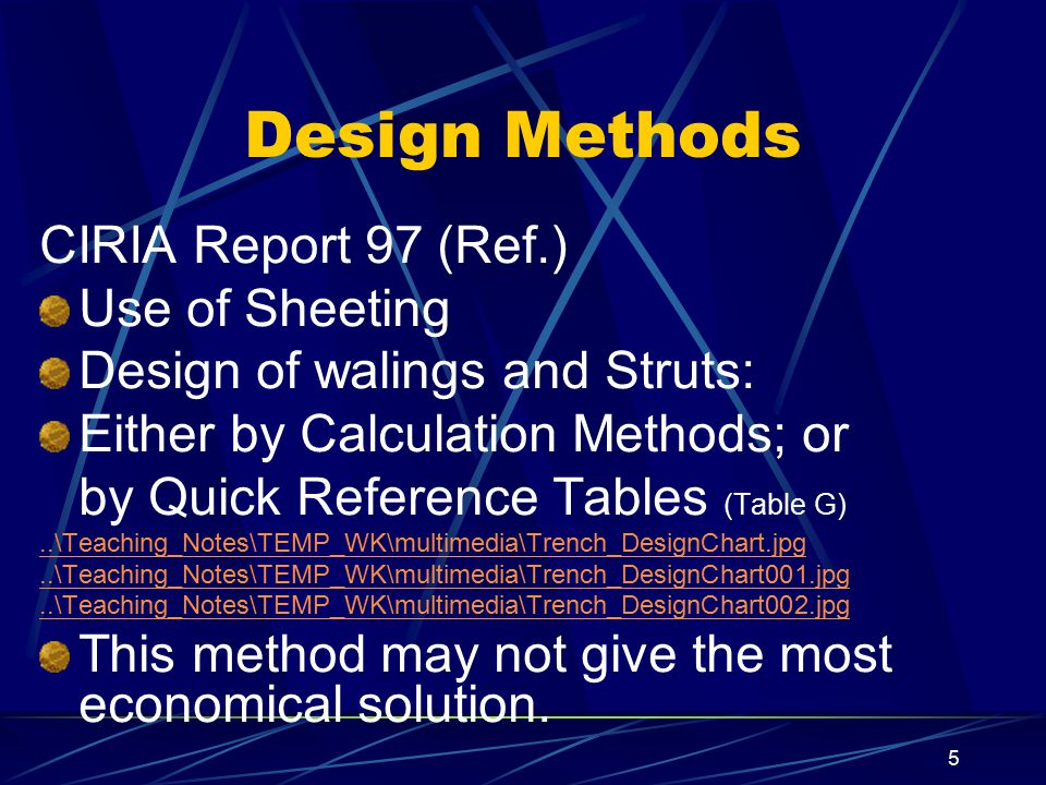 Design Methods CIRIA Report 97 (Ref.) Use of Sheeting