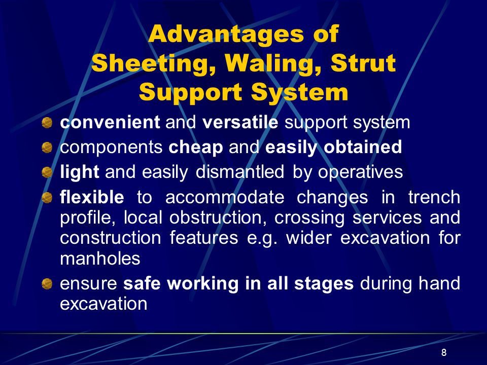 Advantages of Sheeting, Waling, Strut Support System