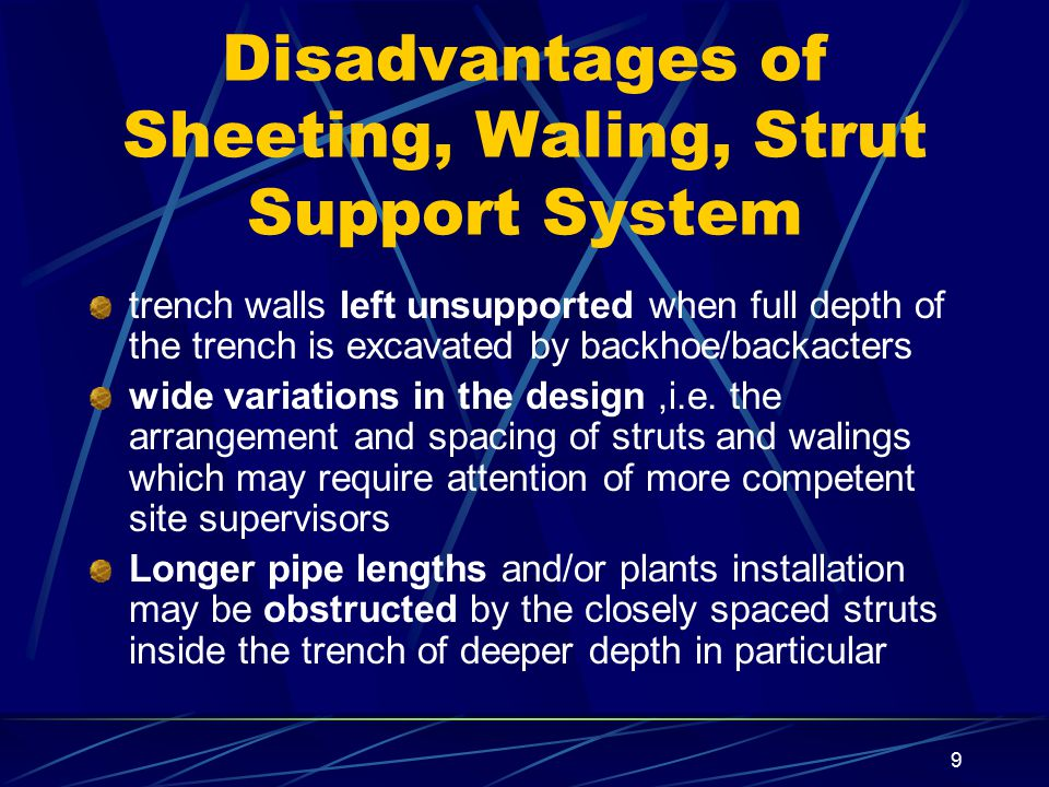 Disadvantages of Sheeting, Waling, Strut Support System