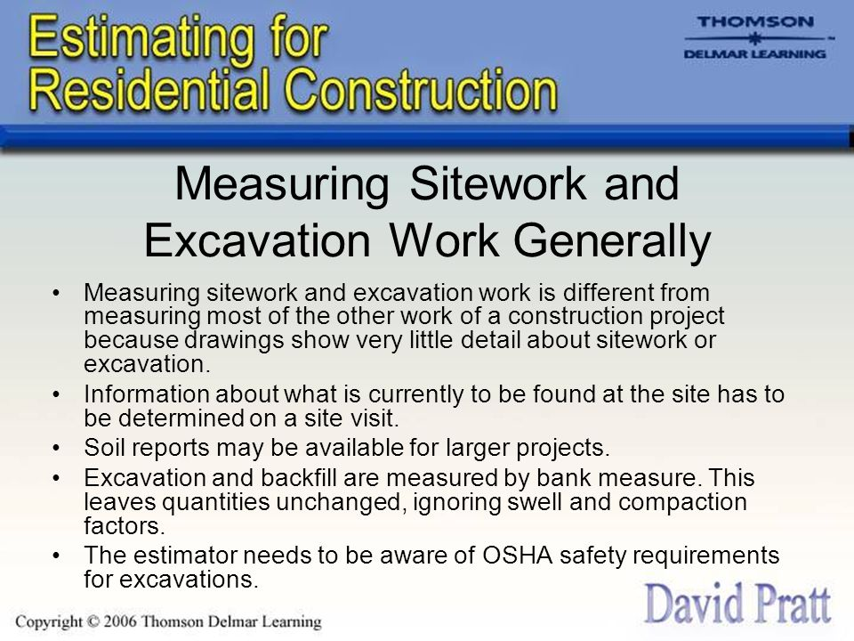 Measuring Sitework and Excavation Work Generally