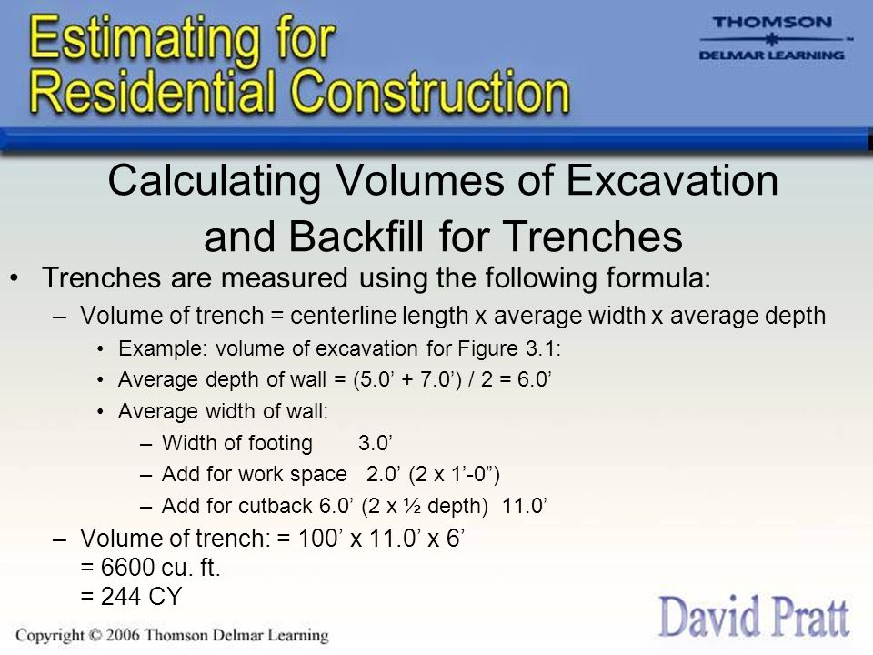 Calculating Volumes of Excavation and Backfill for Trenches