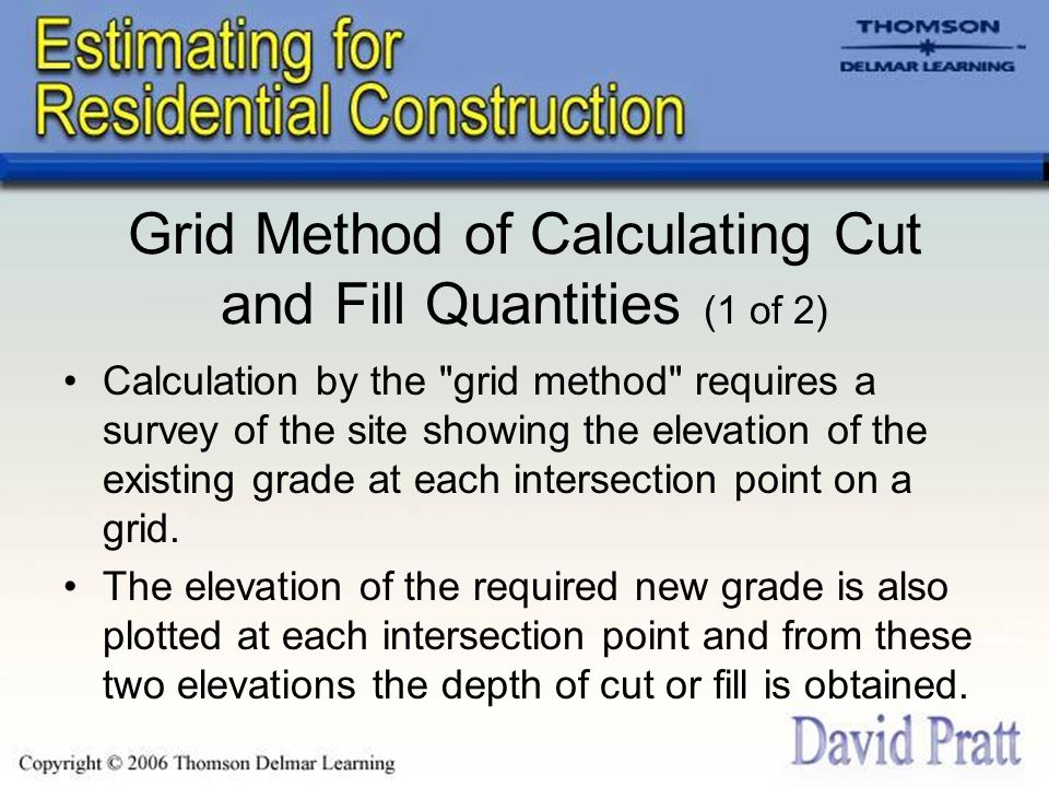 Grid Method of Calculating Cut and Fill Quantities (1 of 2)