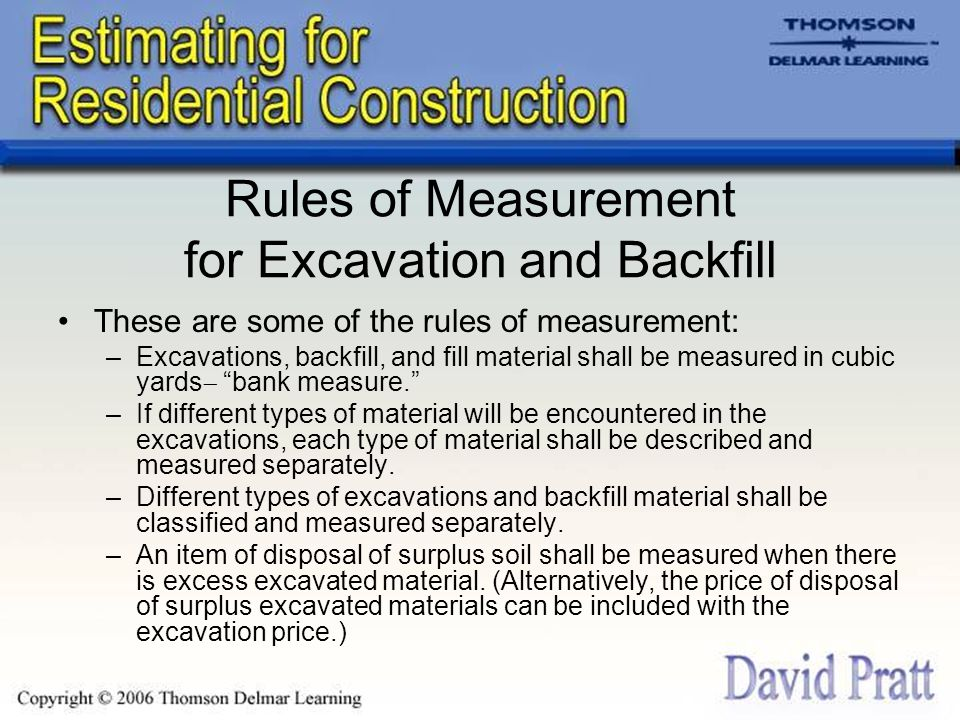 Rules of Measurement for Excavation and Backfill