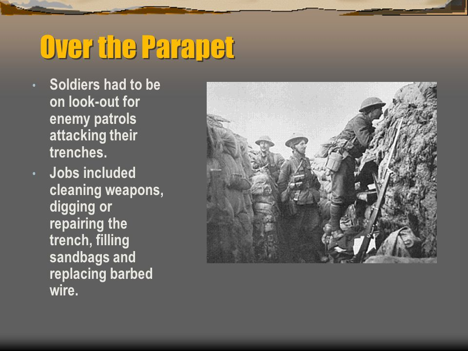 Over the Parapet Soldiers had to be on look-out for enemy patrols attacking their trenches.