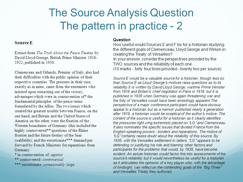 The Source Analysis Question The pattern in practice - 2