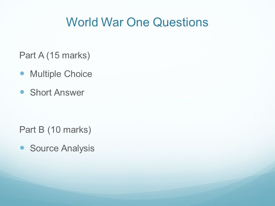 World War One Questions