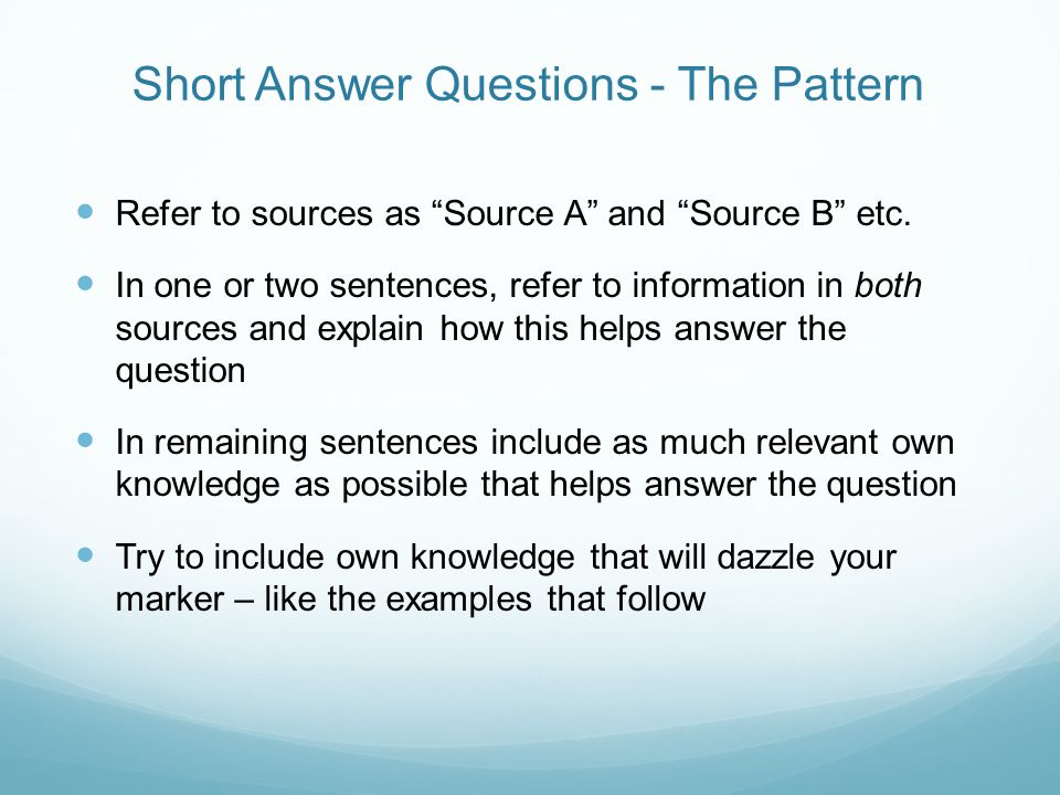 Short Answer Questions - The Pattern