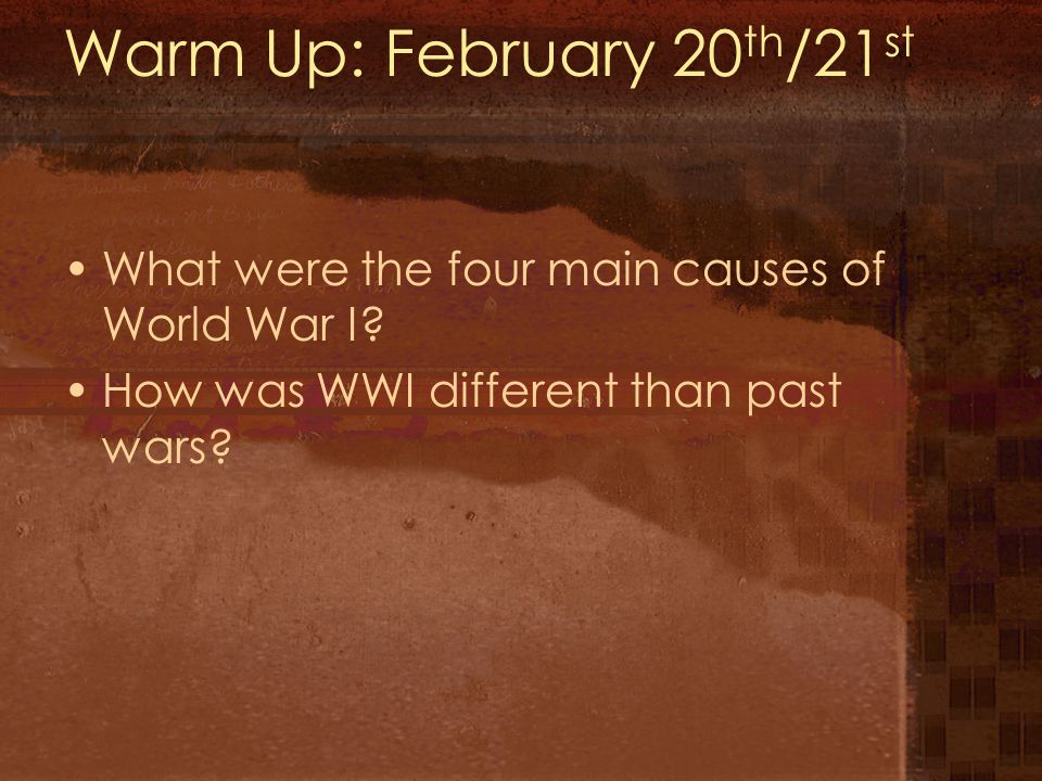 Warm Up: February 20th/21st