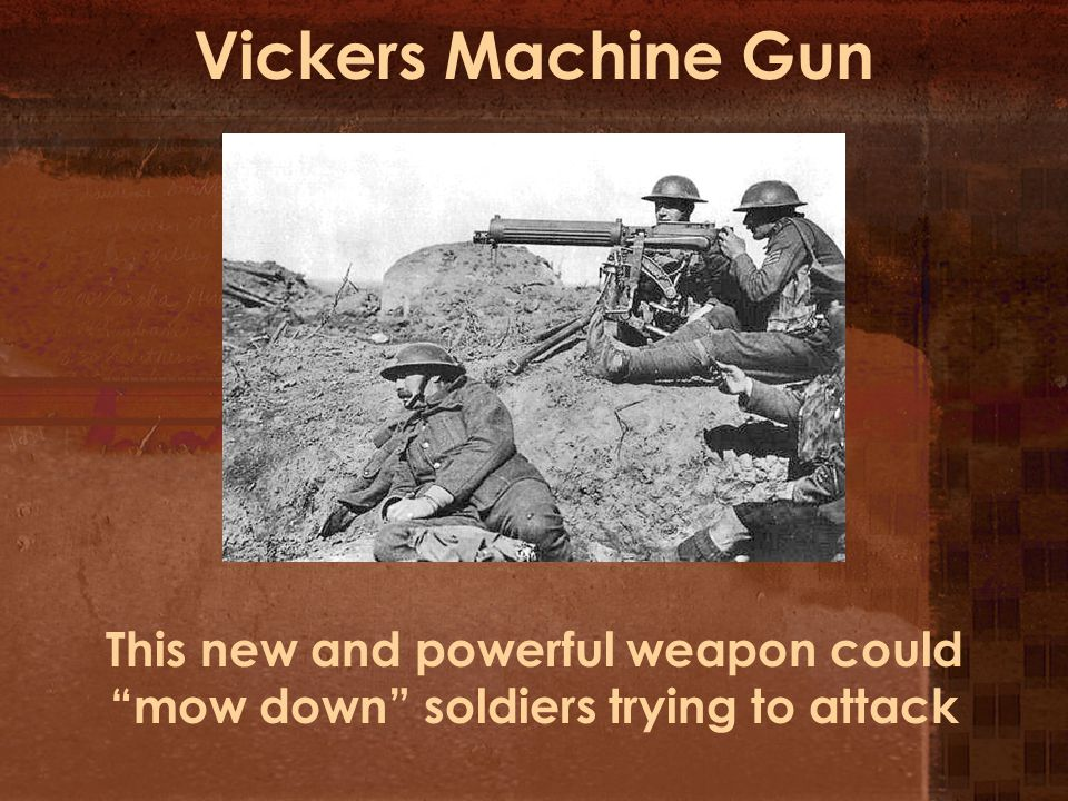 Vickers Machine Gun This new and powerful weapon could mow down soldiers trying to attack