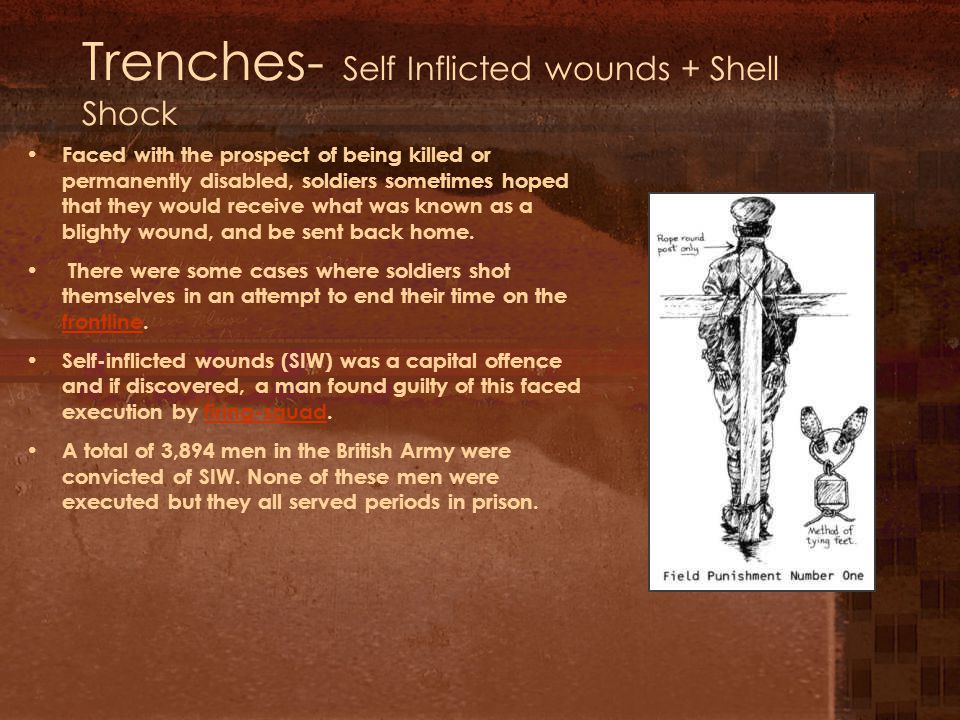 Trenches- Self Inflicted wounds + Shell Shock