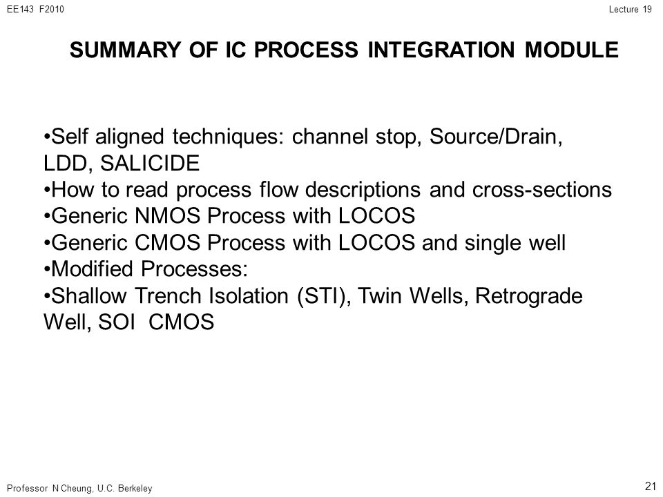 SUMMARY OF IC PROCESS INTEGRATION MODULE
