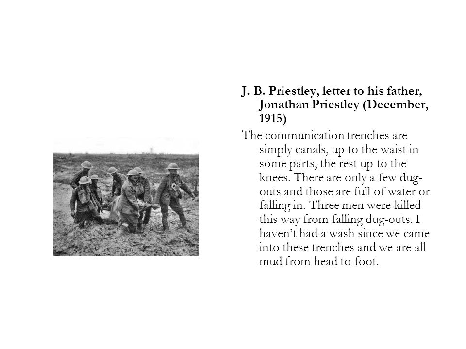 J. B. Priestley, letter to his father, Jonathan Priestley (December, 1915)