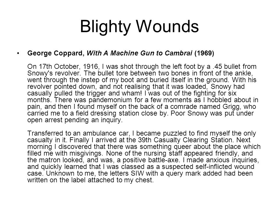 Blighty Wounds
