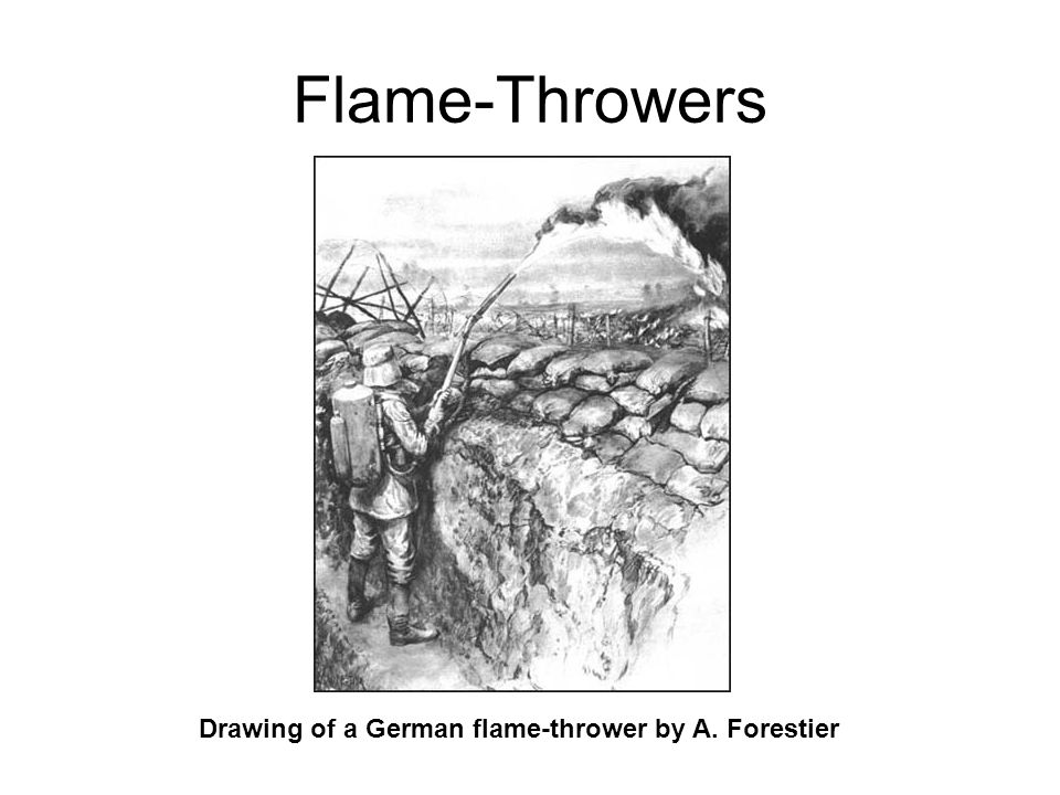 Drawing of a German flame-thrower by A. Forestier