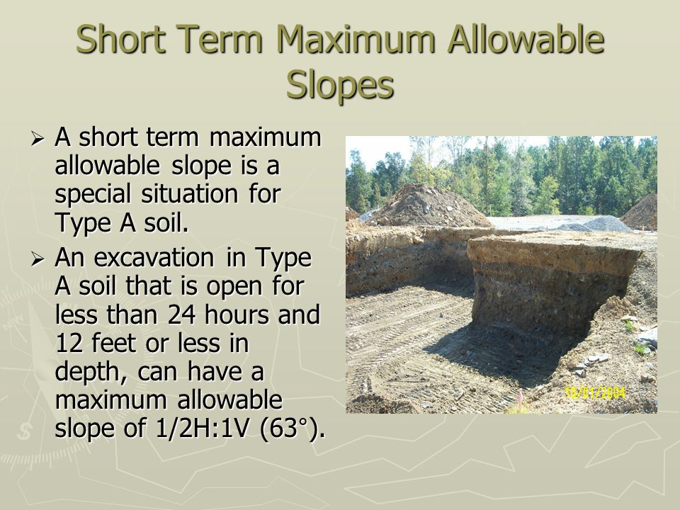 Short Term Maximum Allowable Slopes
