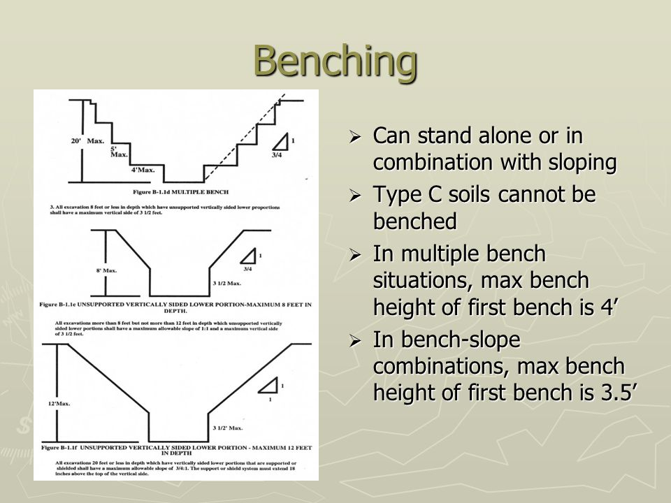 Benching Can stand alone or in combination with sloping