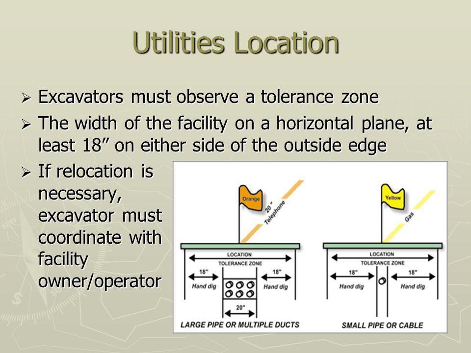 Utilities Location Excavators must observe a tolerance zone