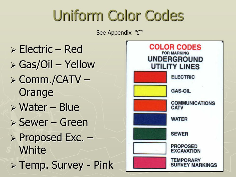 Uniform Color Codes Electric – Red Gas/Oil – Yellow