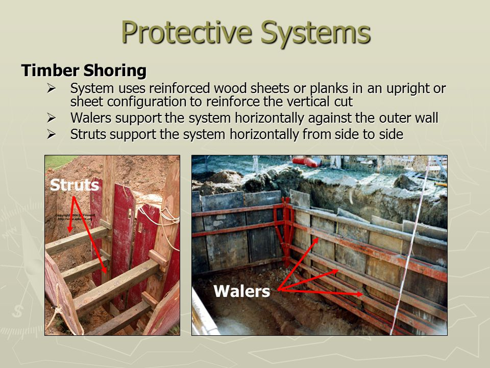 Protective Systems Timber Shoring Struts Walers