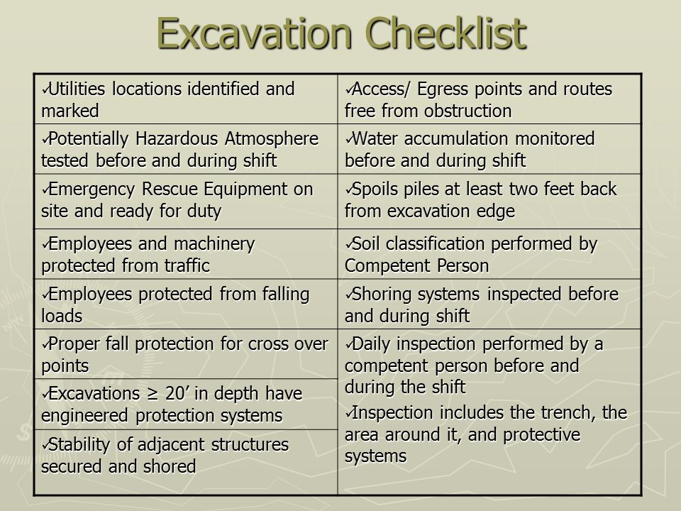 Excavation Checklist Utilities locations identified and marked