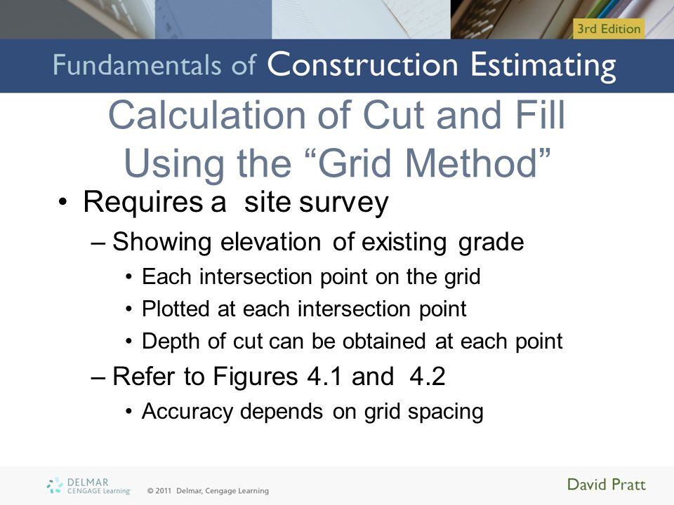 Calculation of Cut and Fill Using the Grid Method