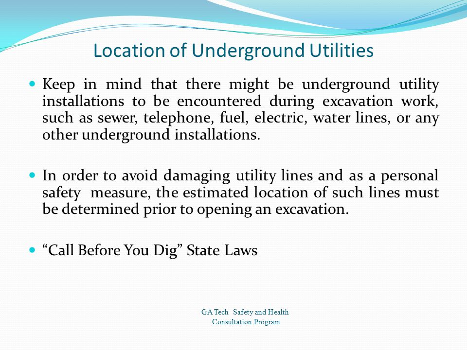 Location of Underground Utilities