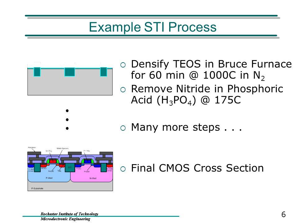 Example STI Process Densify TEOS in Bruce Furnace for 60 min @ 1000C in N2. Remove Nitride in Phosphoric Acid (H3PO4) @ 175C.