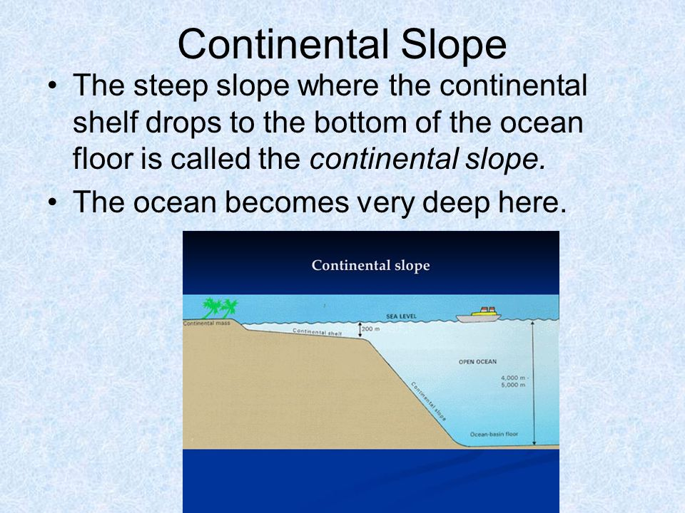 Continental Slope The steep slope where the continental shelf drops to the bottom of the ocean floor is called the continental slope.
