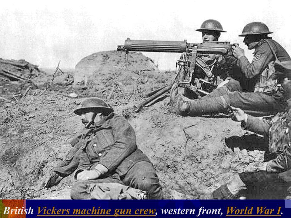 British Vickers machine gun crew, western front, World War I.