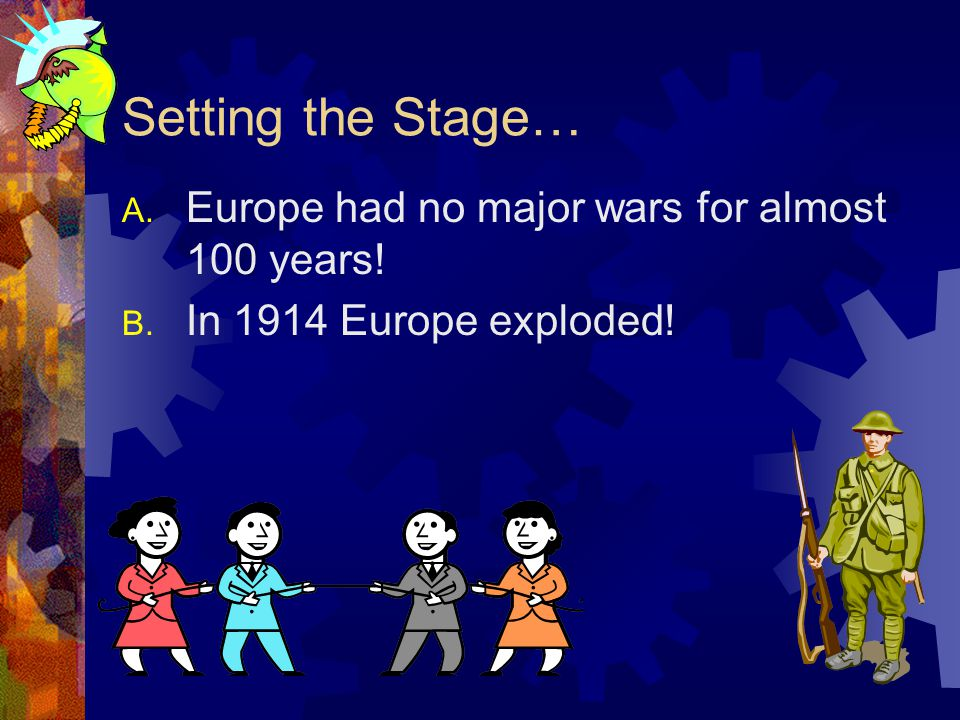 Setting the Stage… Europe had no major wars for almost 100 years!
