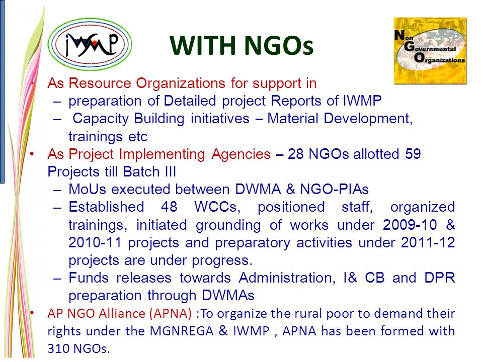 WITH NGOs As Resource Organizations for support in