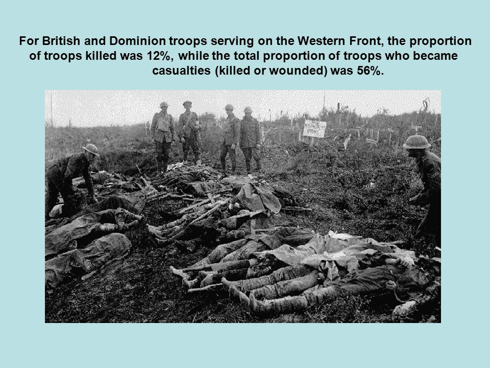 For British and Dominion troops serving on the Western Front, the proportion