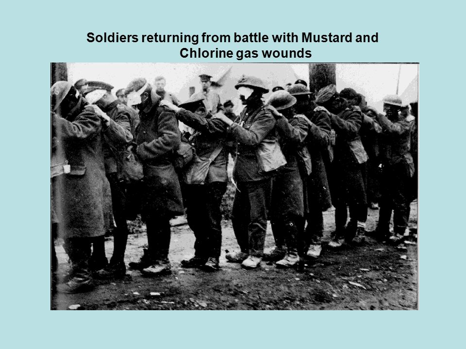 Soldiers returning from battle with Mustard and Chlorine gas wounds