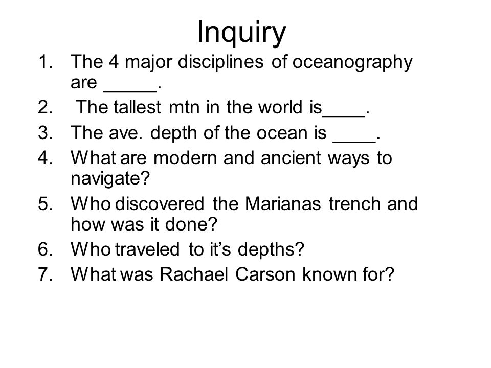 Inquiry The 4 major disciplines of oceanography are _____.