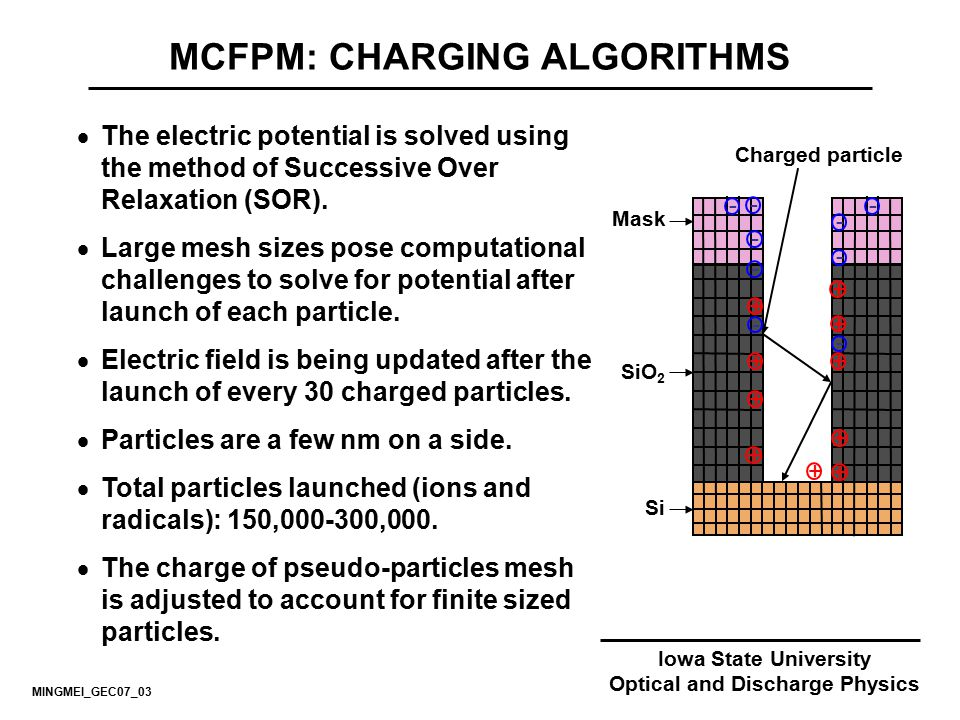MCFPM: CHARGING ALGORITHMS Optical and Discharge Physics