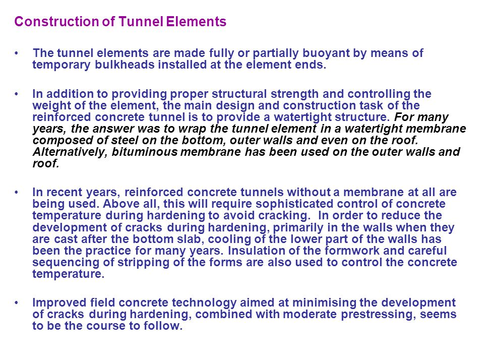 Construction of Tunnel Elements
