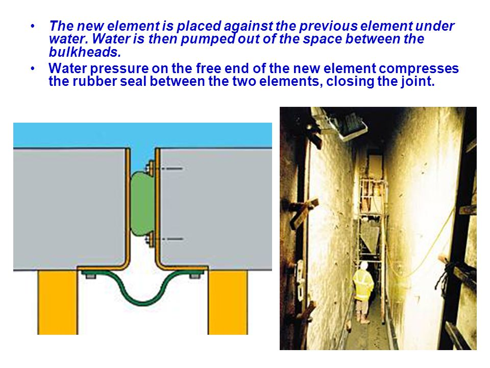 The new element is placed against the previous element under water