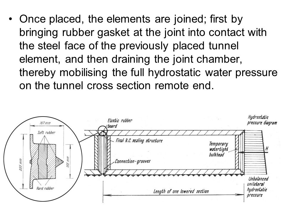 Once placed, the elements are joined; first by bringing rubber gasket at the joint into contact with the steel face of the previously placed tunnel element, and then draining the joint chamber, thereby mobilising the full hydrostatic water pressure on the tunnel cross section remote end.