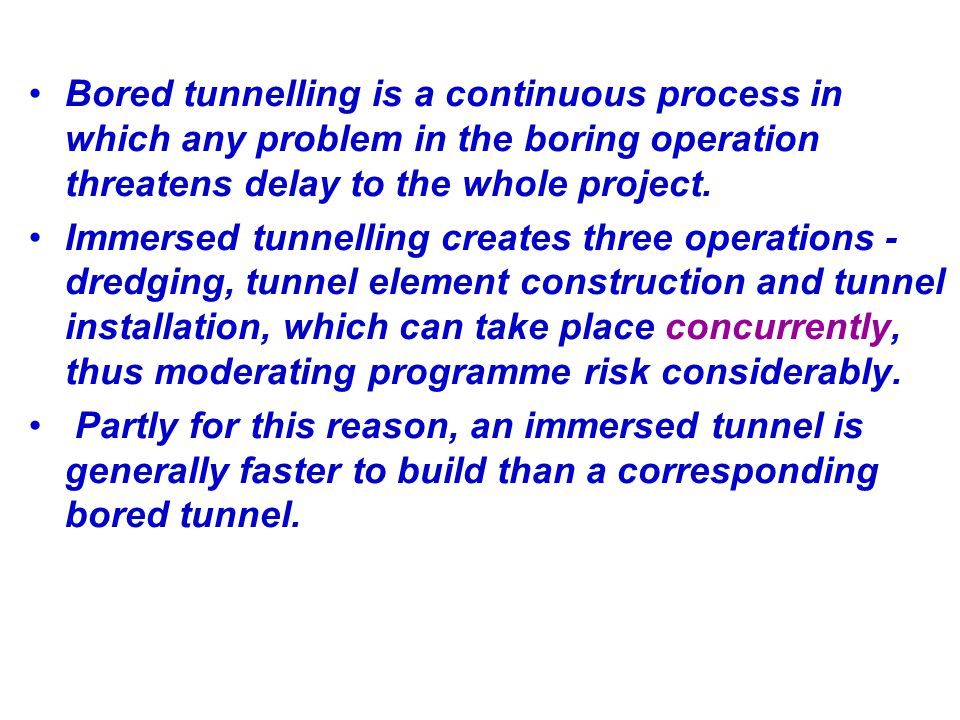 Bored tunnelling is a continuous process in which any problem in the boring operation threatens delay to the whole project.