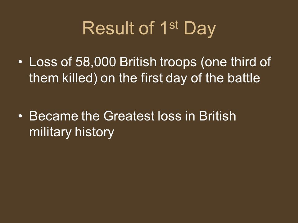 Result of 1st Day Loss of 58,000 British troops (one third of them killed) on the first day of the battle.
