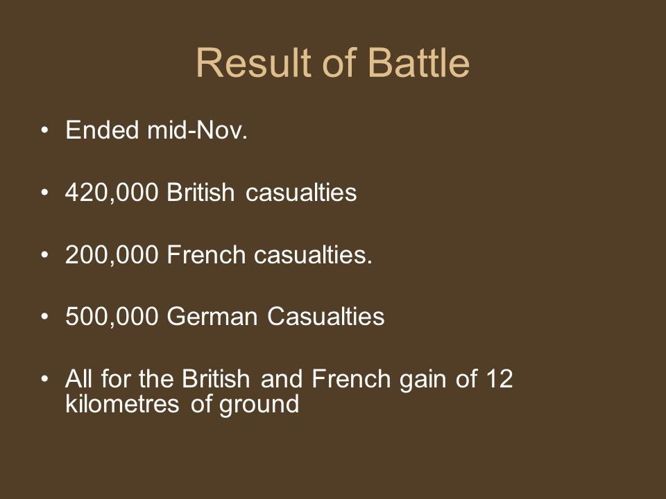 Result of Battle Ended mid-Nov. 420,000 British casualties