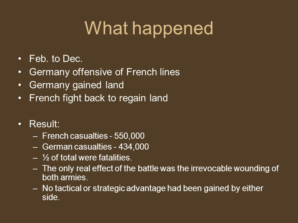 What happened Feb. to Dec. Germany offensive of French lines