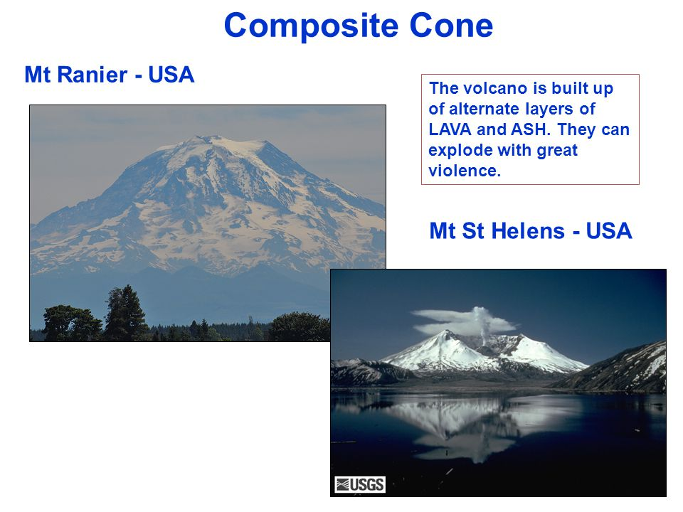 Composite Cone Mt Ranier - USA Mt St Helens - USA