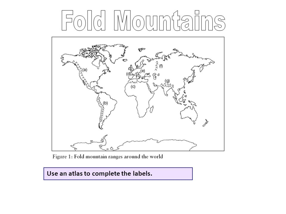 Fold Mountains Use an atlas to complete the labels.
